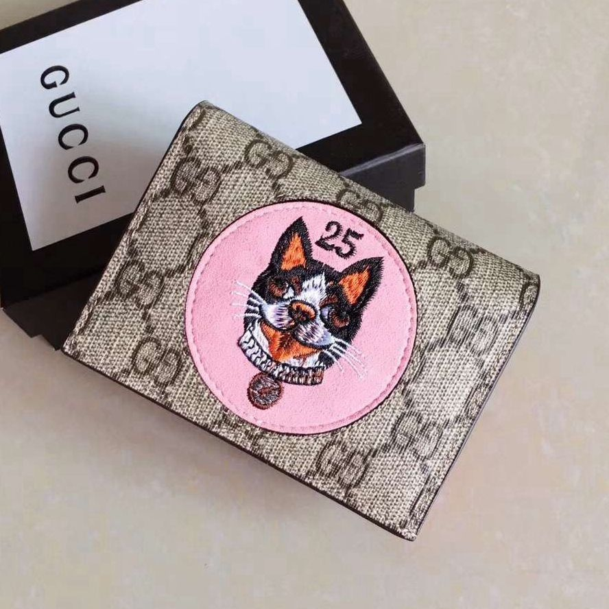 Gucci dog embroideried gg card case 506277 pink 2018