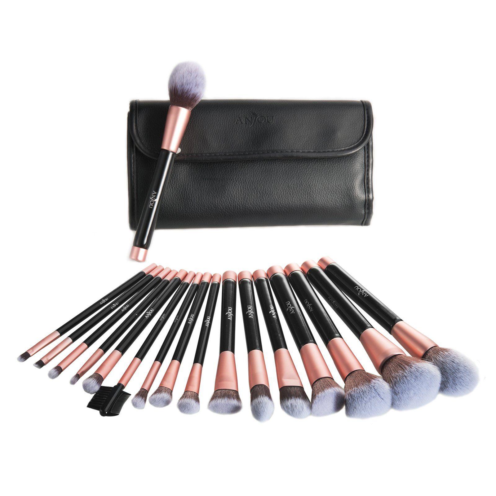 c771af5fc5ea Anjou Makeup Brush Set 16pcs Premium Cosmetic Brushes for Foundation ...