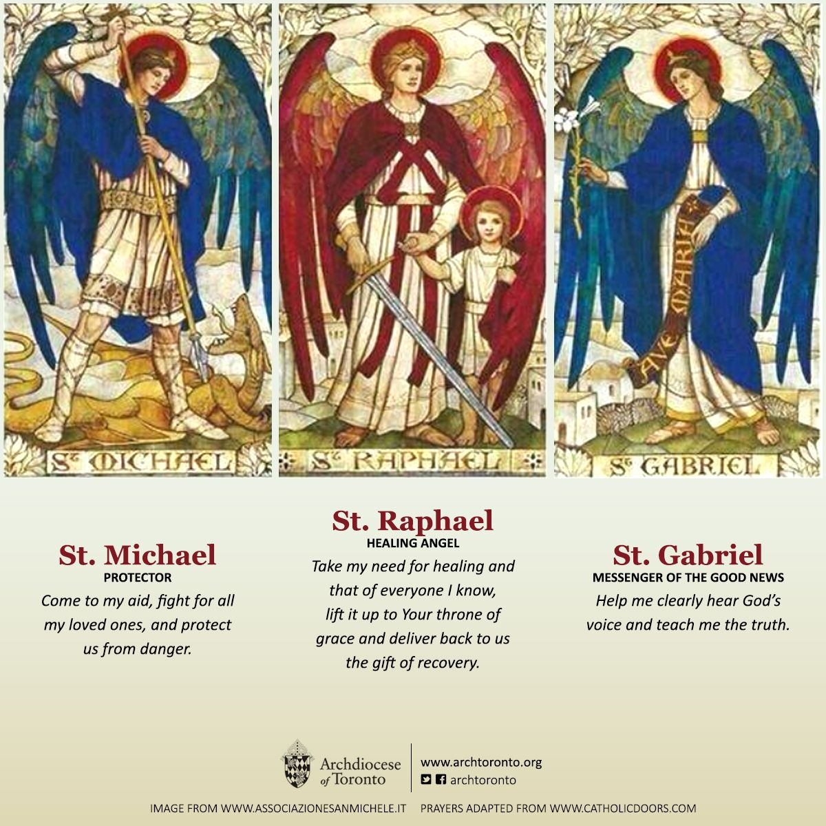 St. Michael, St. Gabriel and St. Raphael, pray for us! #feastday #catholic #angels