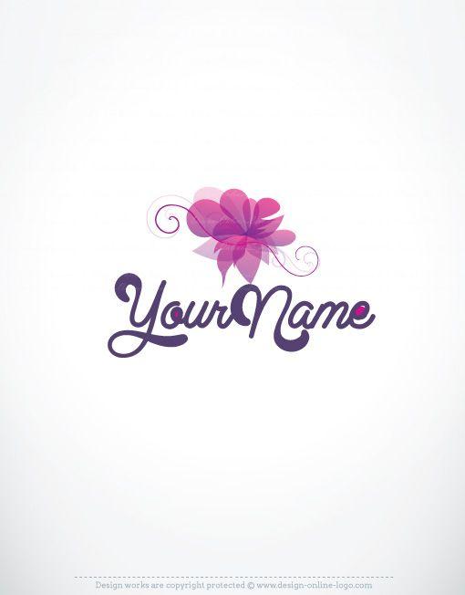 Exclusive Design Luxury Purple Flower Logo Compatible Free Business Card Online Logo Design Custom Logo Design Flower Logo Luxury Logo Design Beauty Logo Design