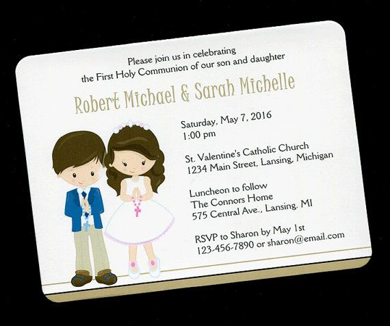 Communion Invitations For Twins Boy And Girl First Communion