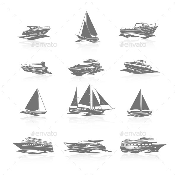 Ocean cruise liner ship and sailboat yachts boats