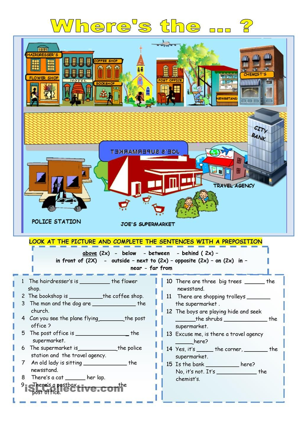 Prepositions of location Collège, Anglais