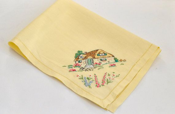 Vintage Yellow Tray Cloth with Embroidered Cottage by WillowsRoom, £3.50