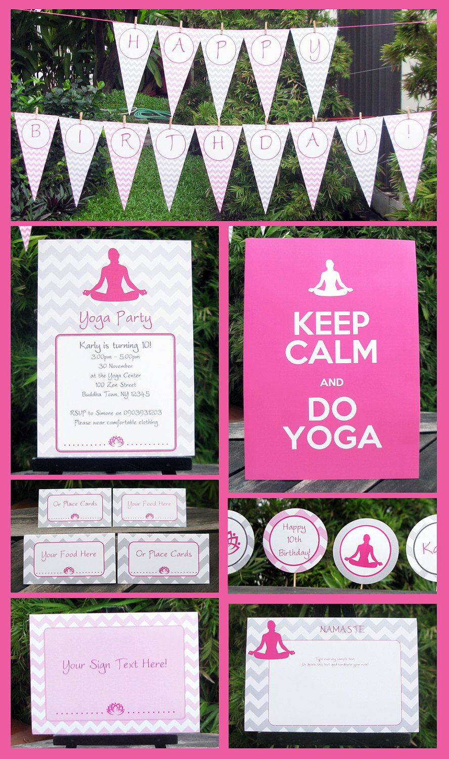 Yoga Party Invitations Decorations Full Printable Package Instant Download With Editable Text You Personalize At Home With Images Yoga Party Party Invitations Printable Invitations