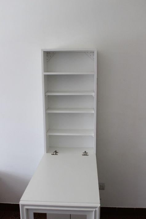 Escritorio mesa plegable pared con espacio de guardado for Paredes plegables