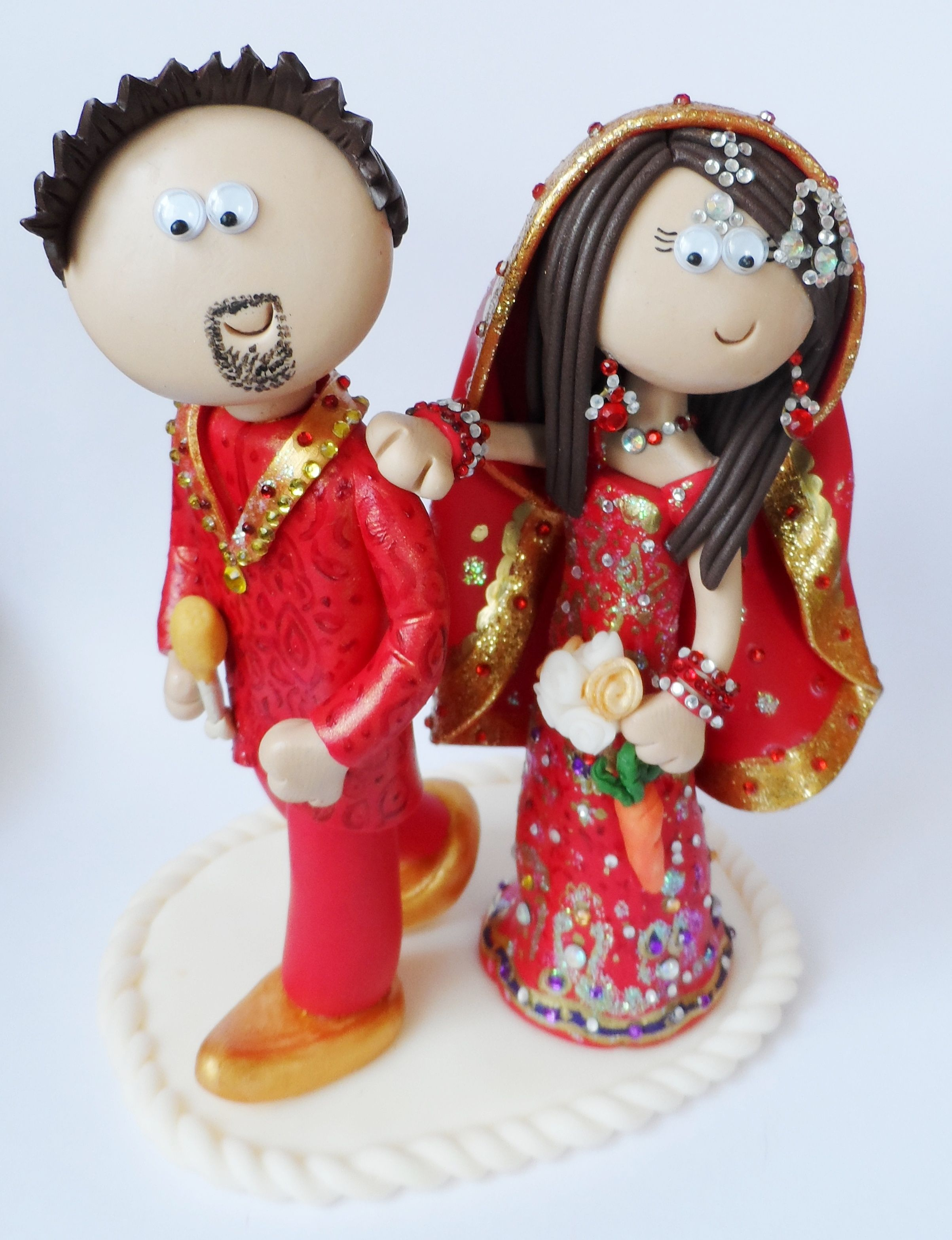Product Ships From The UK Personalized Asian Indian Bride Groom Wedding Cake Topper