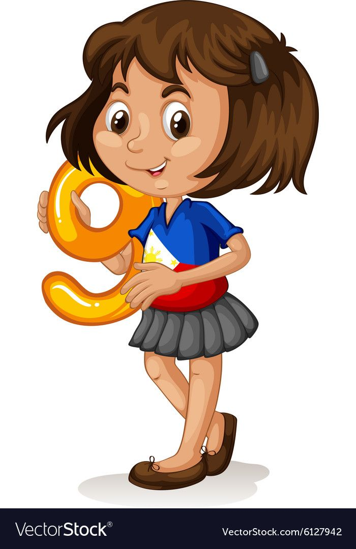 Phillipino girl holding letter nine vector image on ...