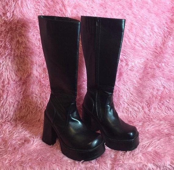 1e26df4b246 Vintage 90 s Ultra Rare Soda Brand Super High Black Platform Boots ...