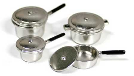 A miniature silver pot set - can be used in modern or retro scenes.
