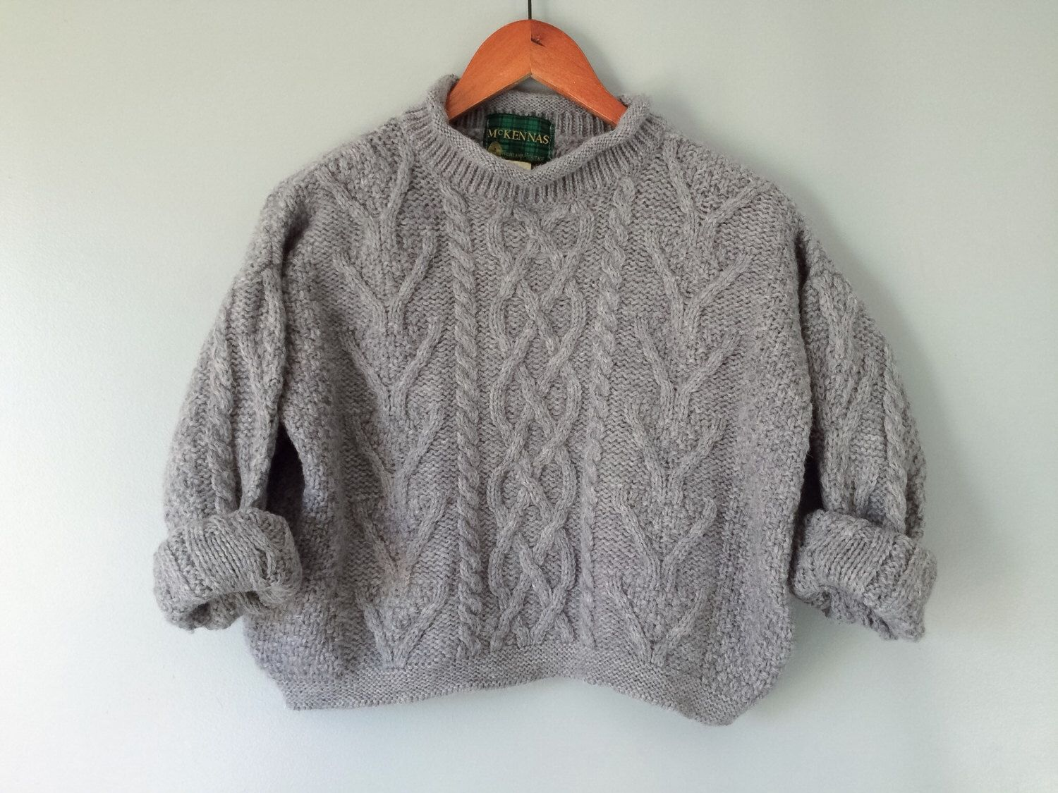 Vintage Fisherman Sweater Grey Wool Cable Knit Chunky Handmade ...