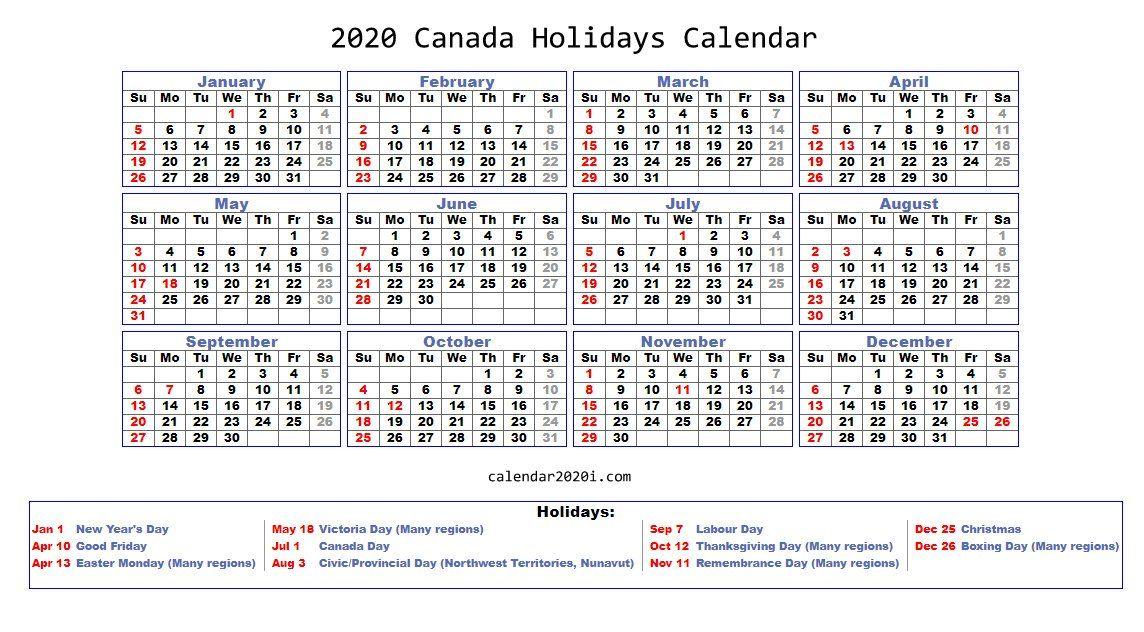 2020 Holidays Calendar Printable [Worldwide] Holiday