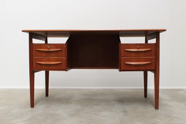 Mid Century Danish Teak Floating Top Free Standing Desk By Gunnar