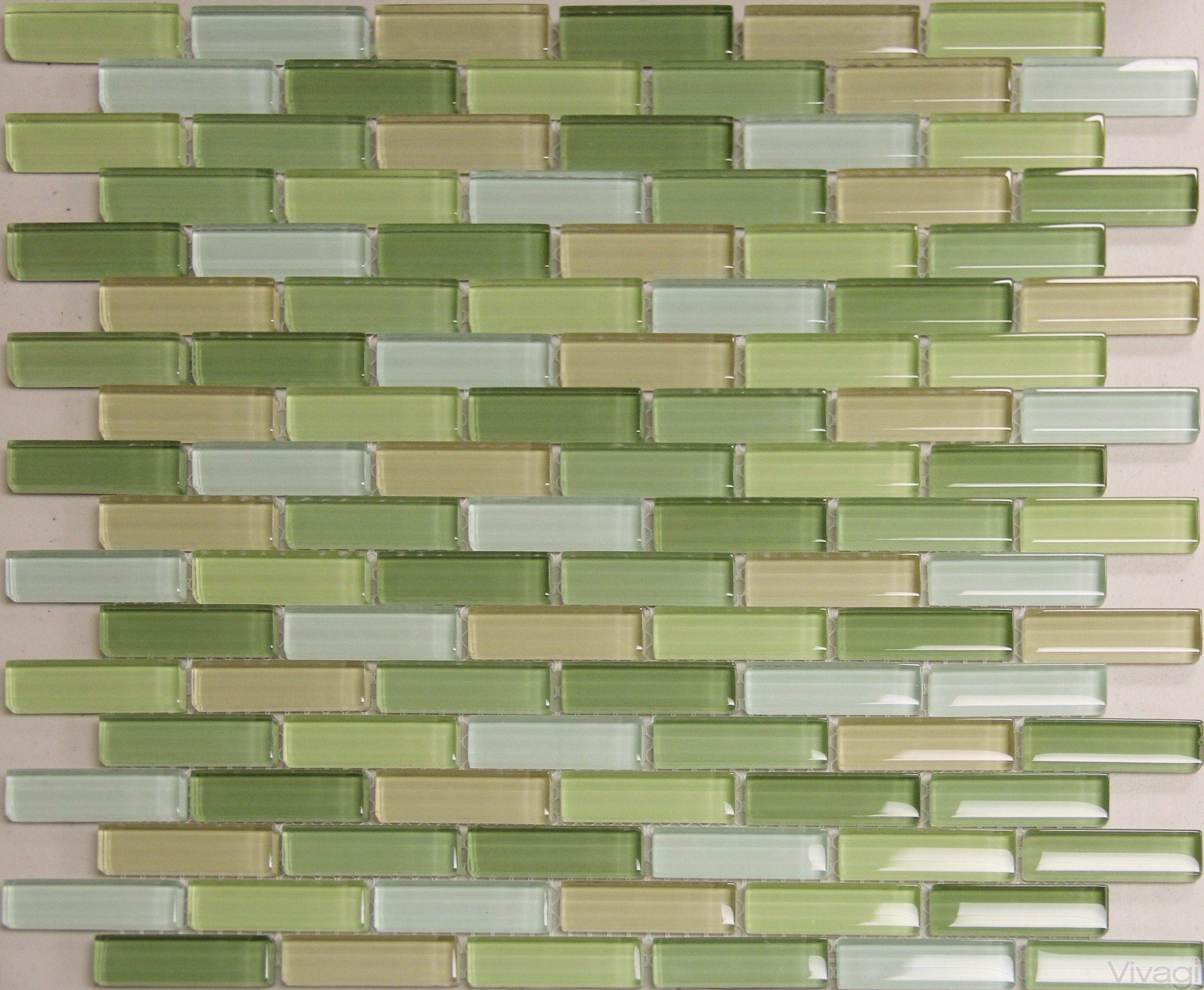 - Glass Tile Kitchen Backsplash D023 - Spring Subway Green, Subway