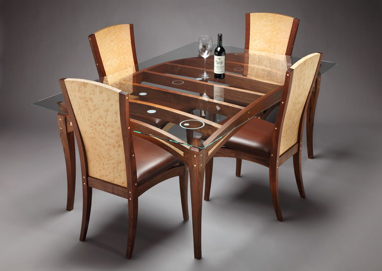 Wooden dining table designs with glass top google search for Designer dining room table