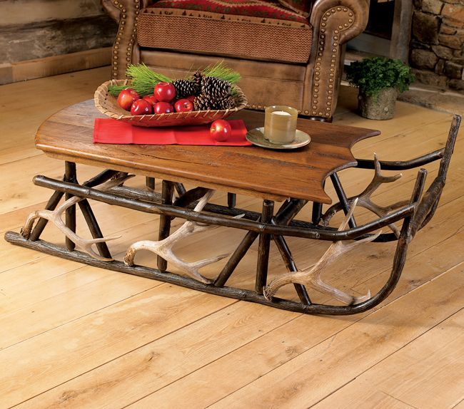 Snow Sled Coverted To A Coffee Table, Cute!: Coffee Tables
