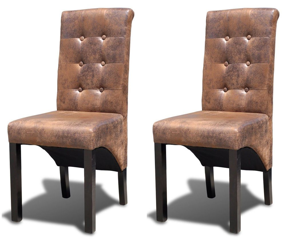 Dining Chairs Set Faux Leather Kitchen Living Room Furniture Wood ...