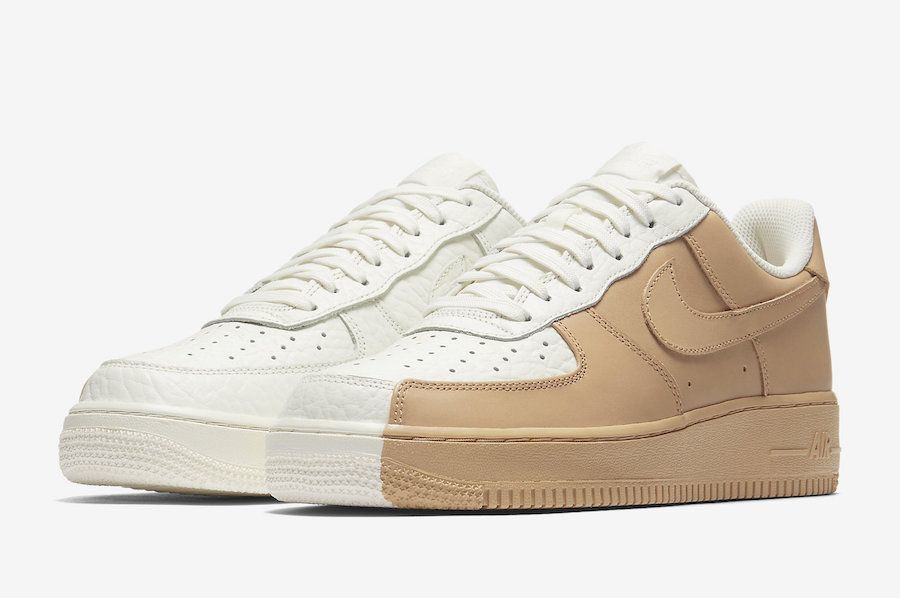 The Nike Air Force 1 Low Split In White And Tan