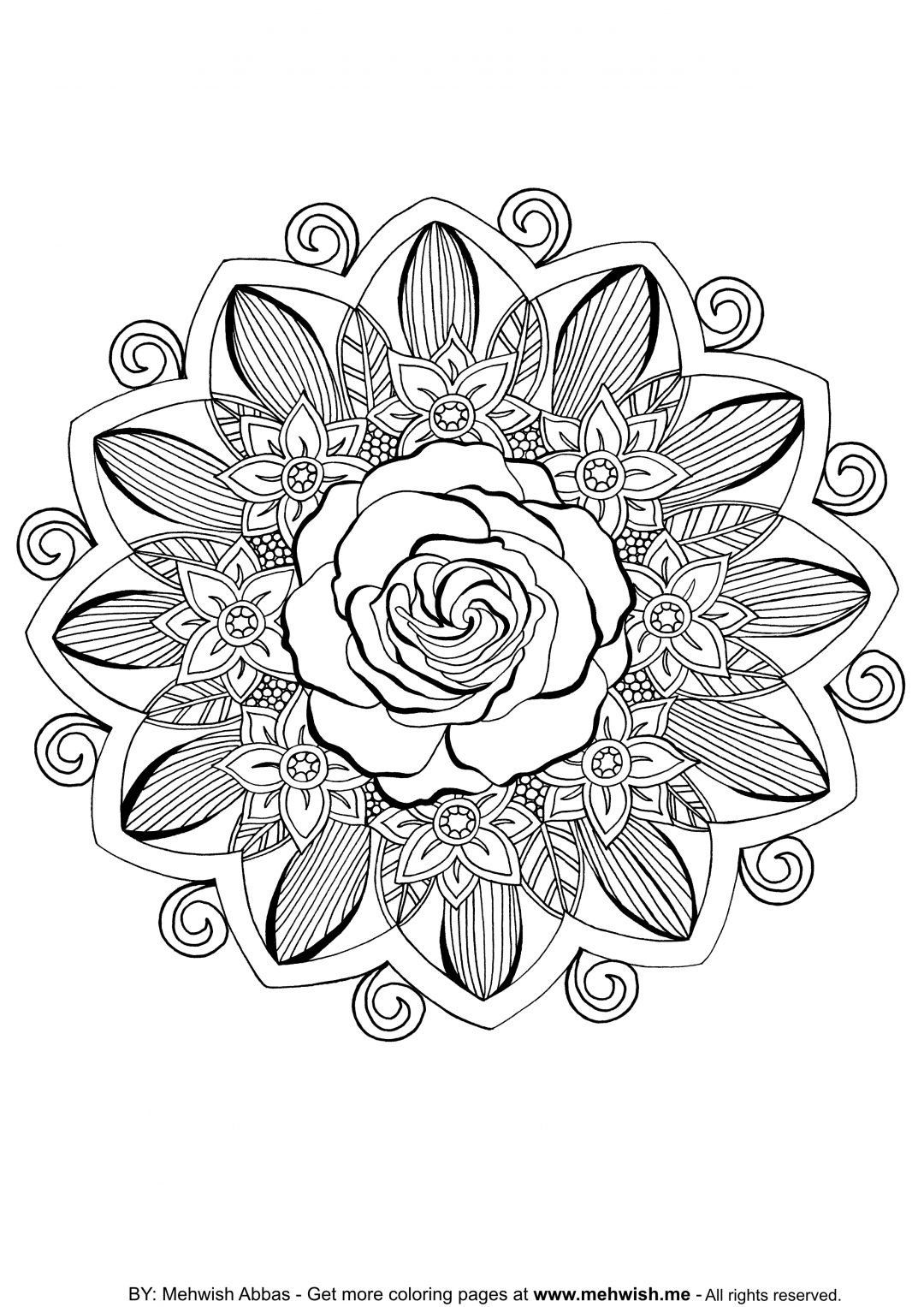 Rose Flower Coloring Pages Rose Mehwish Abbas in 2020 ...