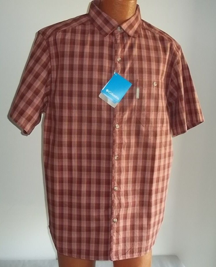 de92f1650c8 Columbia Mens Large Rust Plaid Shirt NWT Short Sleeves Button Down Front # Columbia #ButtonFront