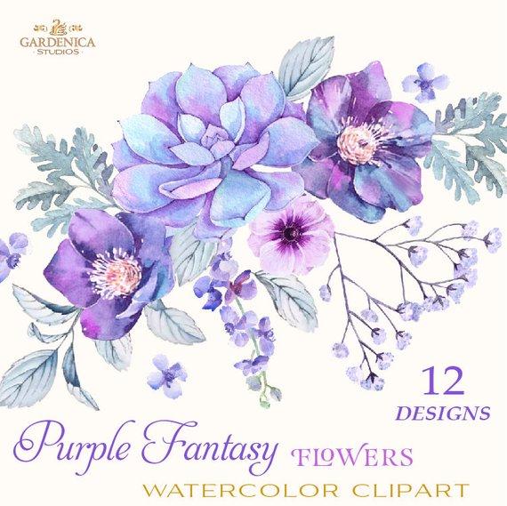 Purple Flowers Watercolor Succulents Watercolor Purple Etsy Watercolor Flowers Digital Flowers Flower Clipart