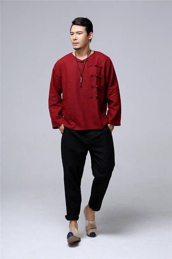 Men Linen T-Shirt – Retro Round Neck Chinese style Autumn Men's T-shirt Qsueib