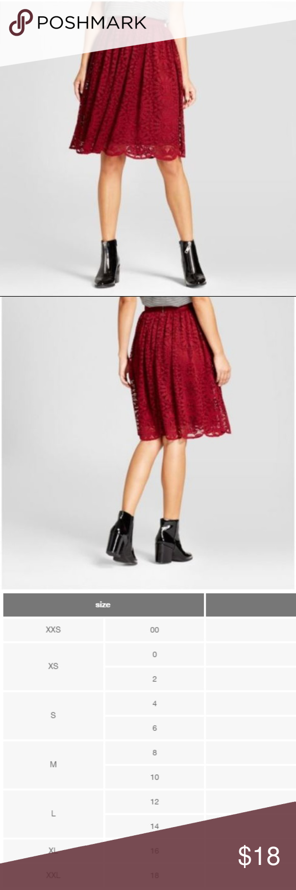 a515ab4eeb Lace Midi Skirt Ruby Rose Red Knee Length Lace Midi Skirt Xhilaration  Juniors Ruby Rose Red Knee Length Sz Medium Maroon Xhilaration Skirts Midi