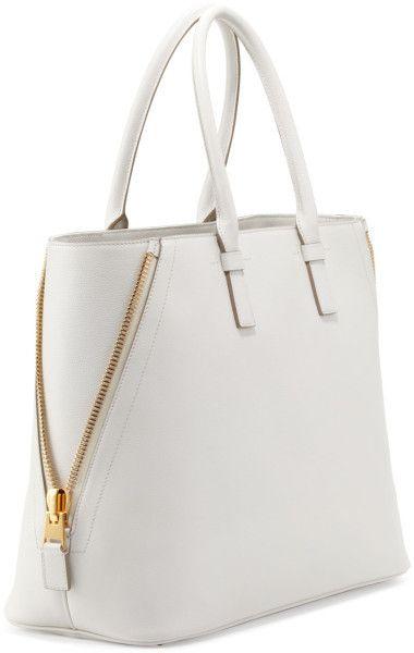 f9fbd3b1fa Tom Ford Jennifer Trap Calfskin Tote Bag White in White