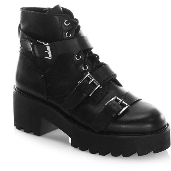 d89aa552b13 Ash Razor Leather Stacked Boots ($250) ❤ liked on Polyvore ...