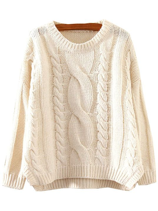 Beige Round Neck Split Cable Knit Sweater | Knitting | Pinterest ...