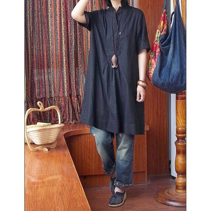 2015 women's short-sleeve loose plus size shirt linen black long top design fluid shirt