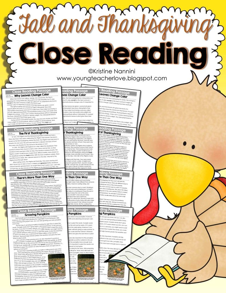Workbooks thanksgiving reading comprehension worksheets middle school : Fall and Thanksgiving Close Reading Passages, Text-Dependent ...