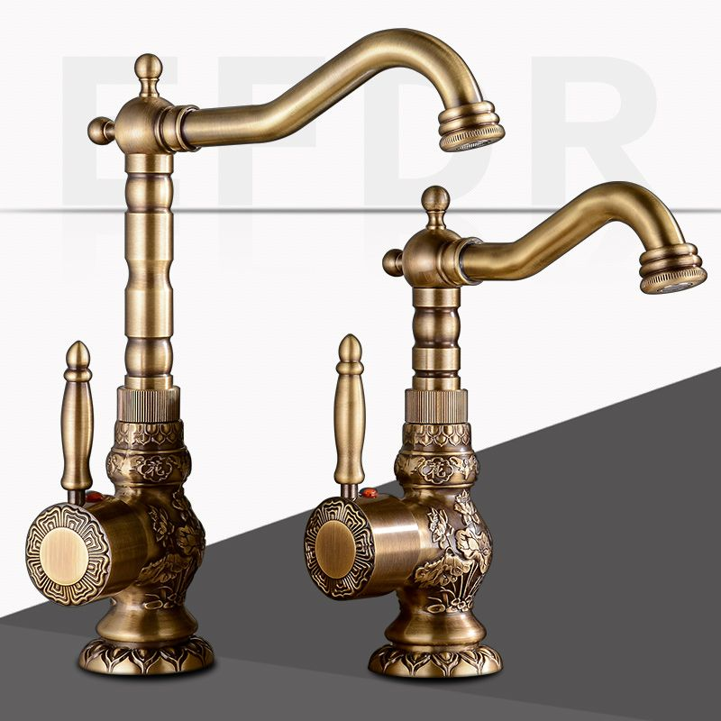 Brass Kitchen Faucet European Antique Faucet Retro Carved Basin ...