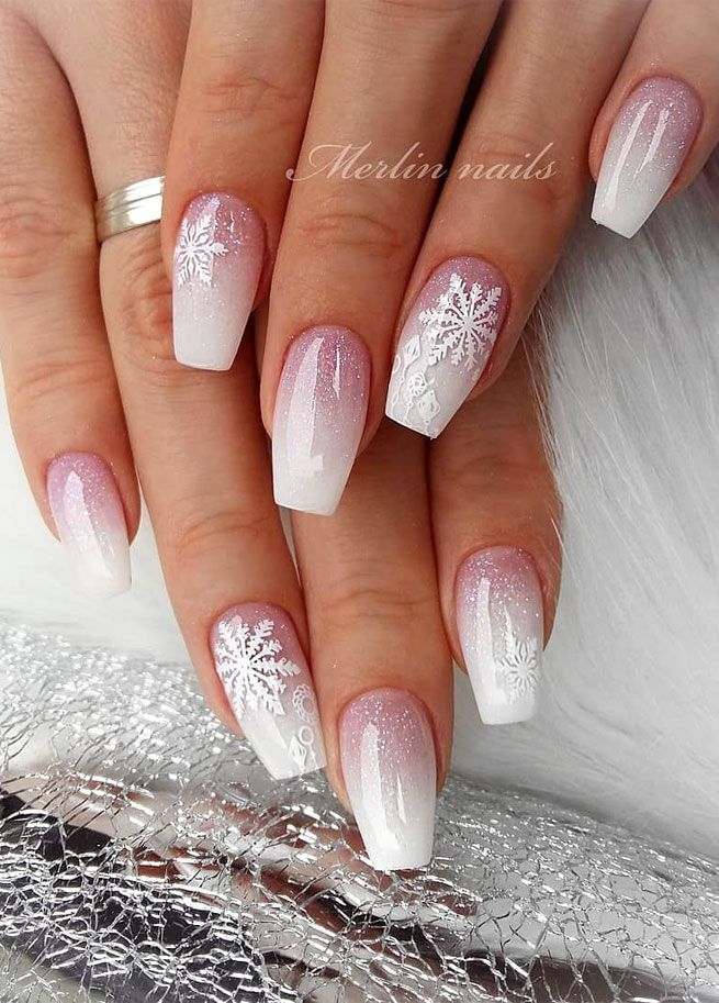 Ombre Pink Christmas Nail Art Designs Winter Nail Art Designs
