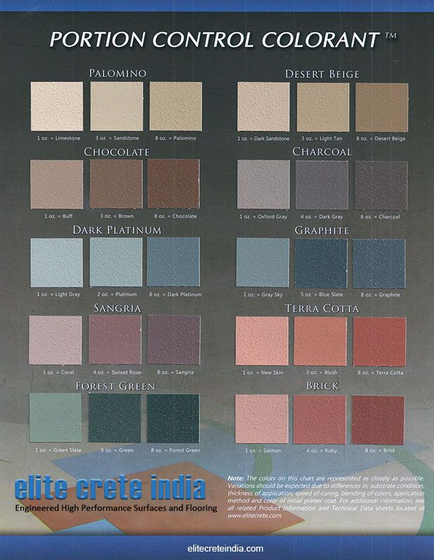 Portion control colorant chart concrete overlay coatings epoxy also best flooring images colour floor charts rh pinterest