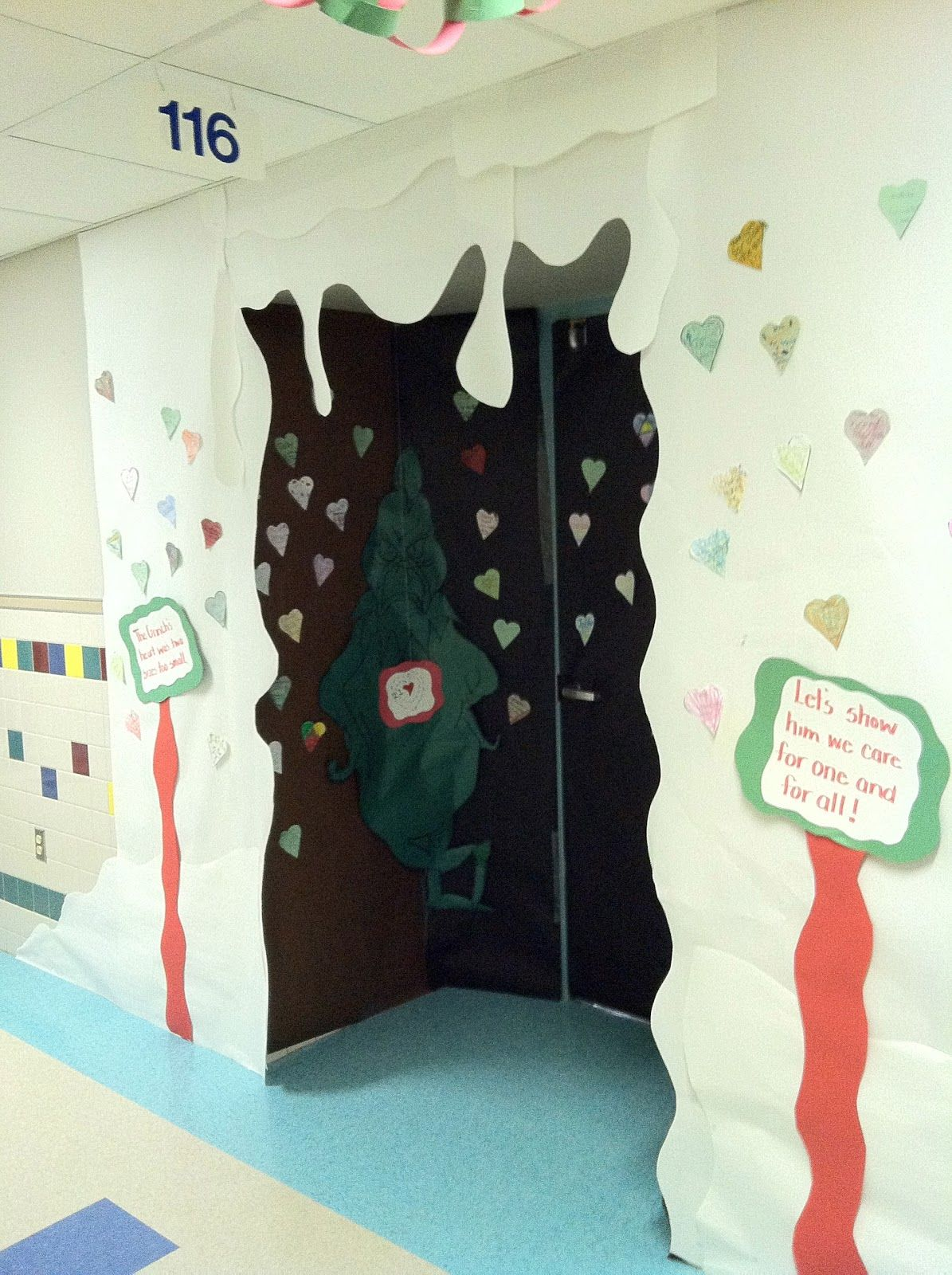 Grinch Cave Door Decorating Made From Kids Hearts Showing