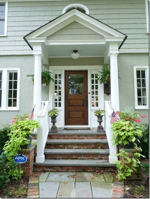 100 Year Old House Front Porch - Love the steps with brick on the risers and slate/stone on the steps. Wood door with white trim. Love this door maybe for ... : door porch - Pezcame.Com