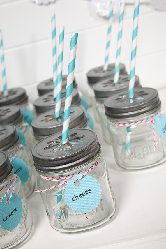 8oz Mason Jar & Daisy lid  Set of 24 by ThePaperedNest on Etsy, $80.00 includes 2 tag sets
