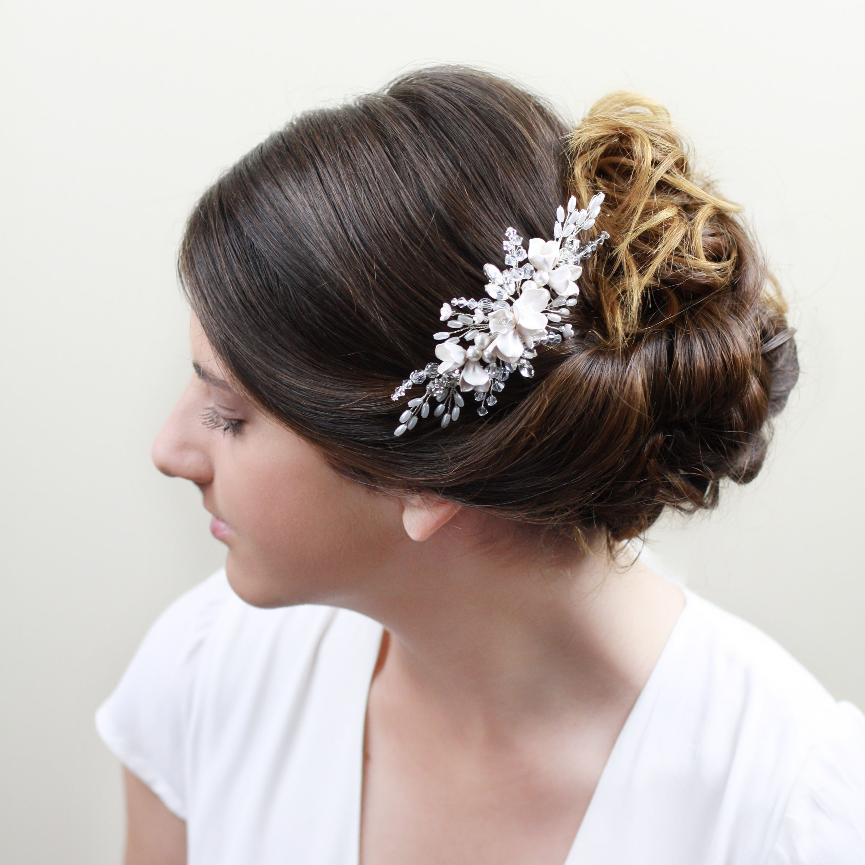 Florence Bridal Headpiece with delicate handmade flowers and