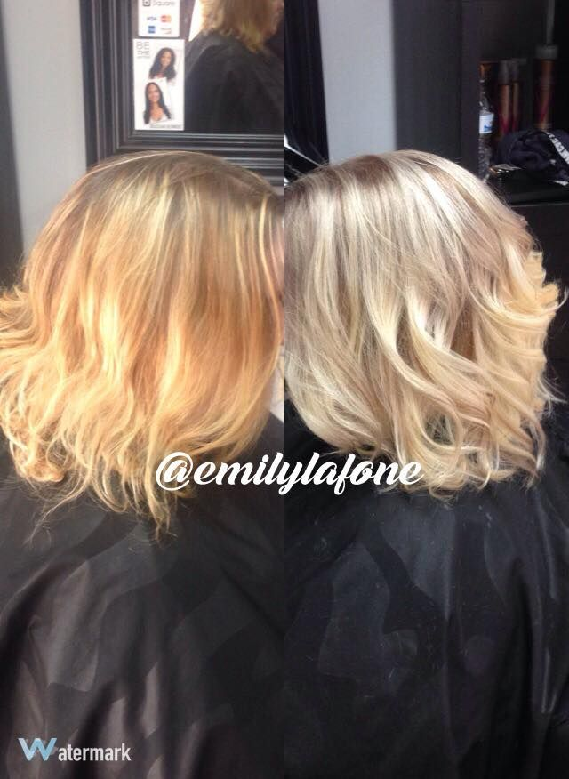 Before And After Color Correction Brassy Orange Into Ash Blonde