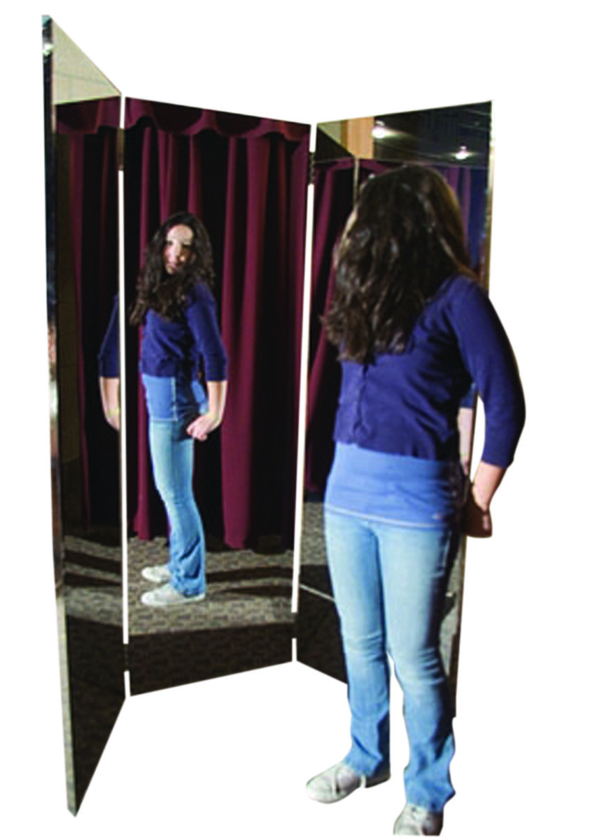 Glassless Mirror Free Standing Triple Panel 16 Quot W X 48