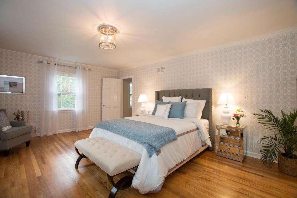 After the renovation the master bedroom is bright and spacious with a lightly patterned for Property brothers bedroom ideas