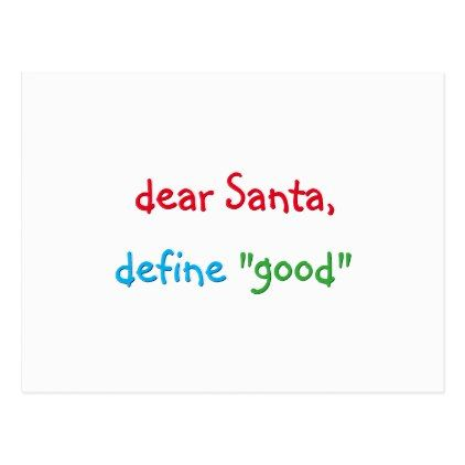 dear santa define good funny christmas holiday postcard merry christmas postcards postal family xmas card holidays diy personalize - Define Christmas