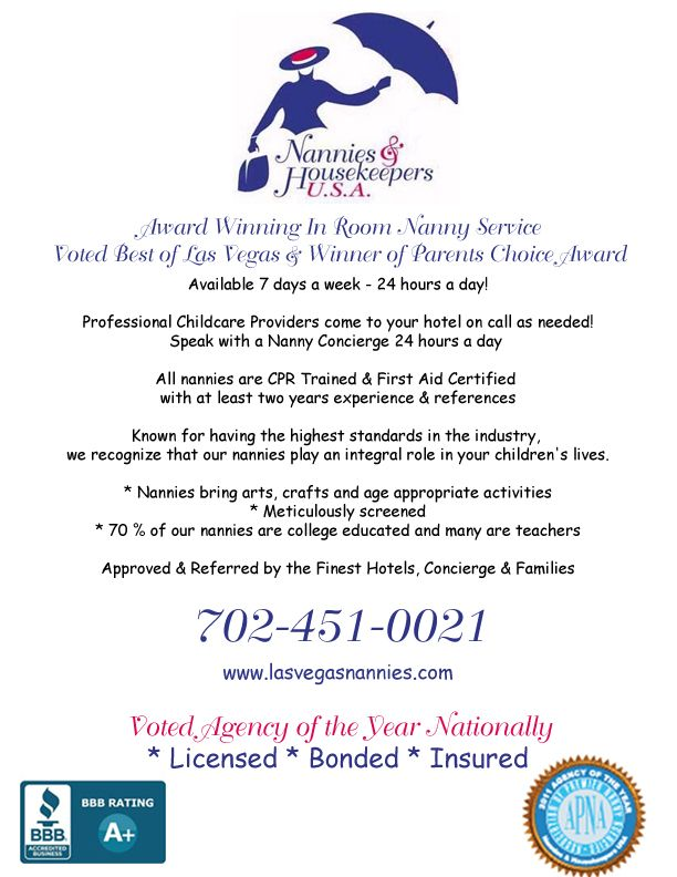 Serving families at homes and hotels in Las Vegas for more than a decade. www.lasvegasnannies.com