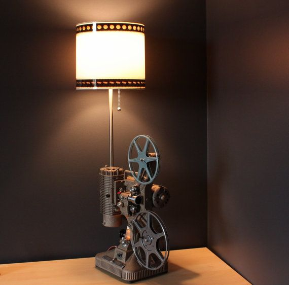 vintage hollywood movie projector table lamp white shade movie projectorprojector lamphome theater decorhome - Home Cinema Decor
