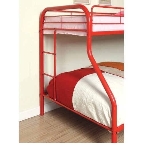 Carleen Modern Twin over Full Bunk Bed with Dual Sided Ladder, Orange