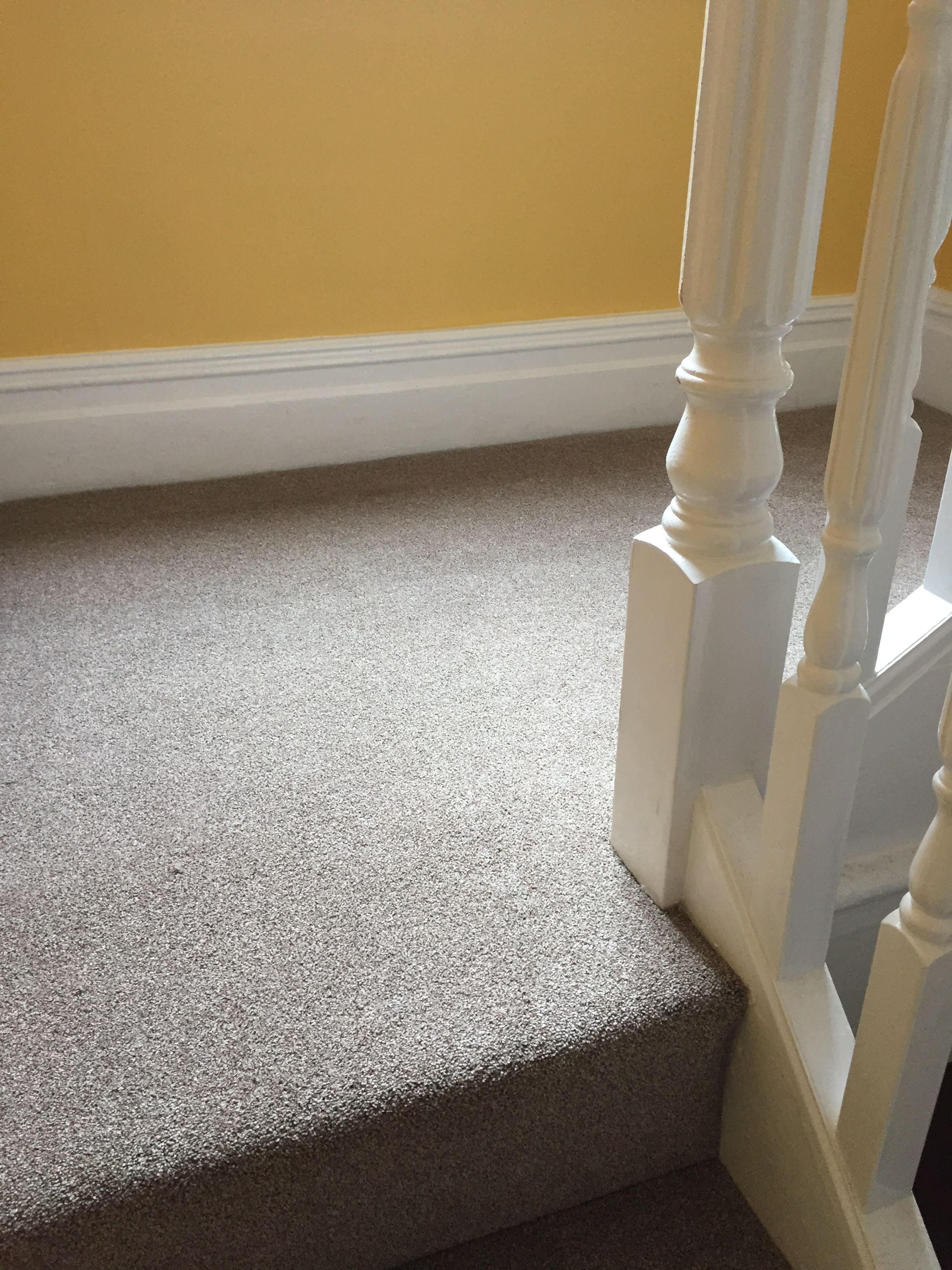 Grey Landing Carpet Fitted To Match Yellow Painted Walls