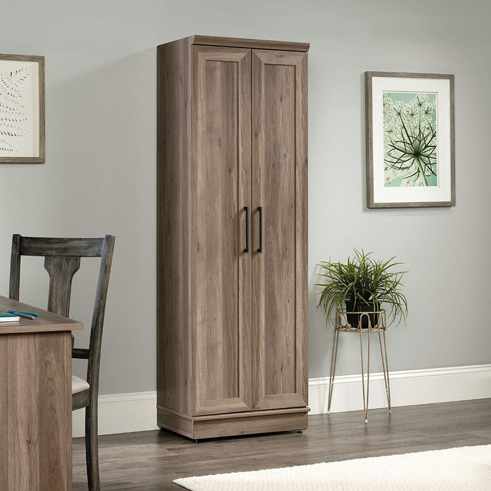 Amazon Com Sauder Home Plus Storage Cabinet Salt Oak Finish Kitchen Dining In 2020 Tall Cabinet Storage Rustic Storage Cabinets Wooden Storage Cabinet