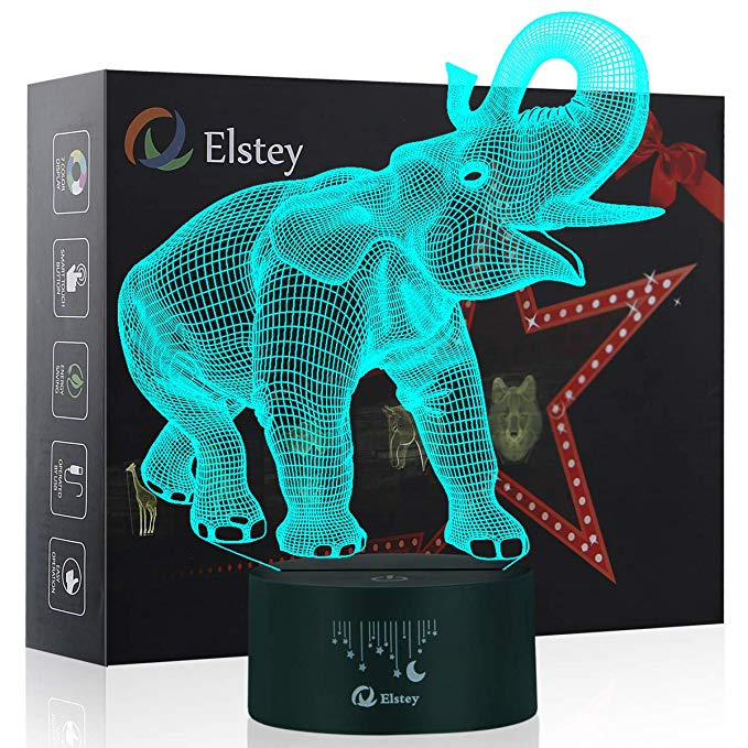 Amazon Com Elephant Night Light Elstey 3d Led Lamp For Kids 7 Colors Changing Touch Table Desk Lighting Bedroo Elephant Night Light 3d Night Light Touch Table