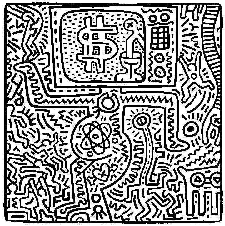 coloriage-adulte-keith-haring-g-5.jpg (720×723) | Adult Coloring ...